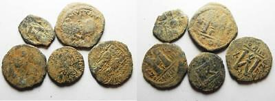 ZURQIEH -as8067- BYZANTINE EMPIRE. LOT OF 5 BRONZE FOLLIS COINS.