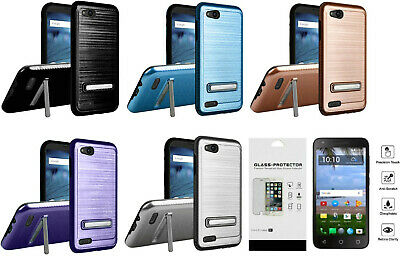 FOR ZTE ZFIVE G C Z557BL Z558VL Lining Stand Case Phone Cover + Tempered  Glass