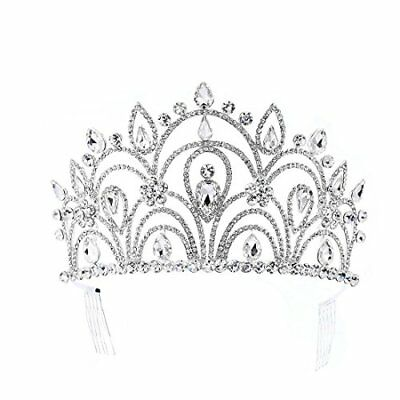 Eseres Tall Pageant Tiaras with Combs for Women Elgeant Rhinestone Crown