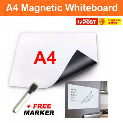 A4 Fridge Magnetic Whiteboard + Marker Memo Reminder Board Pen Eraser Magnet