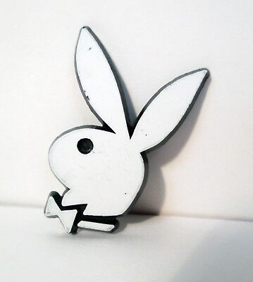 Vtg Playboy Bunny Club White and Black Plastic Pin Button Badge 1960's
