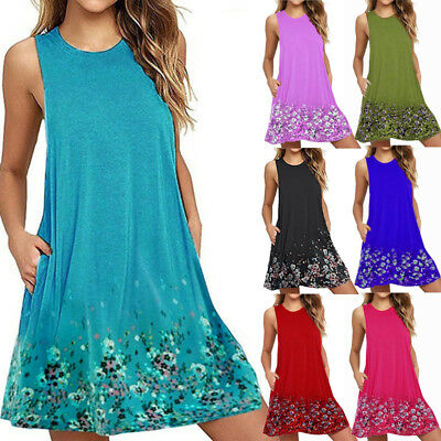 Boho Ladies Floral Sleeveless Dress Womens Summer Holiday Beach Party Plus Size