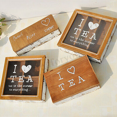 Retro Pine Wood Glass Tea Storage Box Chest Home Wooden Decor ''I LOVE TEA''