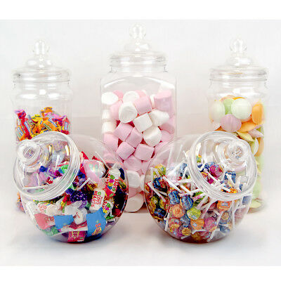 5 Large Retro Plastic Jars Candy Buffet Sweet Shop Wedding Kids Jumbo Party Kit