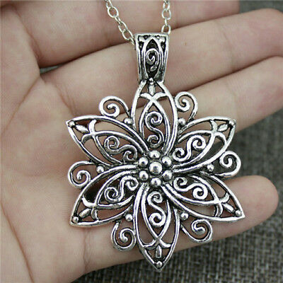 Hollow Large Flower Ancient Silver Palace Ladies Necklace Charm Jewelry Gift CB