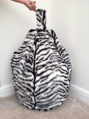 Bean bag Cover only black & white tiger faux fur children's 3 cubic feet Size