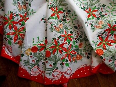 New Circular Cotton Christmas Tablecloth & 6 Napkins~Poinsettia~Holly~Baubles