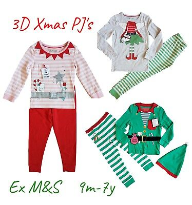 Girls Boys Baby Christmas Xmas Fairy Elf PJs Pyjamas Long Sleeves Gift Cotton