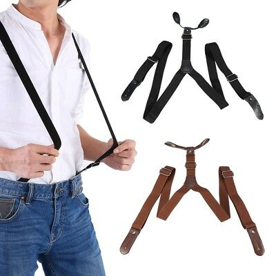 Men Elastic X-Shape Braces Men Adjustable Clip-on Wide X-Back Suspender Clips-on