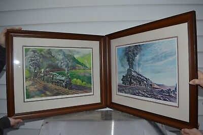 Set of 2 TRAIN Prints by Theodore Xaras Franklin Gallery Railroad Picture Signed