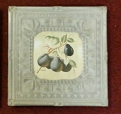 """Vintage 11-1/8"""" x 11-1/8"""" x 3/4"""" Tin Ceiling Tile Faded Stamped Victorian #5"""