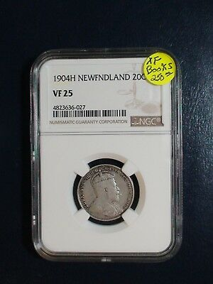 1904H NEWFOUNDLAND Twenty Cents NGC VF25 SILVER 20C Coin PRICED TO SELL!