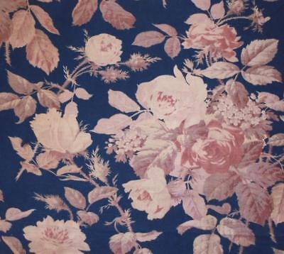 NEW AUTUMN STOCK: BEAUTIFUL 19th CENTURY FRENCH LINEN COTTON, ROSES c1870 253.