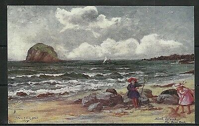 Postcard : North Berwick the Island of Bass Rock an artist painting