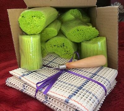 Latch Hook Cushion Front Kit 50x50cm 5hpi canvas , 24 packs of Lime yarn & Tool