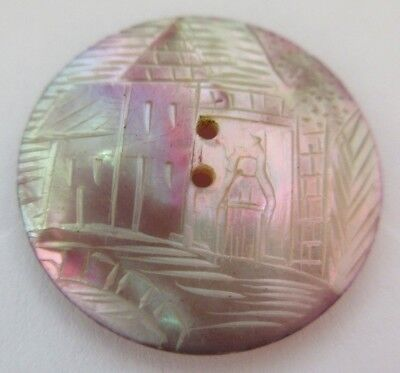 """Lovely Antique~ Vtg Dyed Carved MOP Shell Cameo BUTTON Victorian Woman 1"""" (Y46)"""