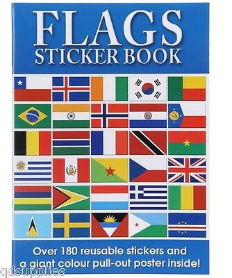 World Flags Sticker Activity Book Giant Pull Out Colour Poster Children Kids