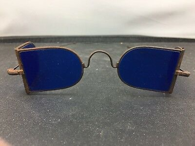 Lovely Very Rare Vintage Antique Steampunk Blue Lens Glasses A28