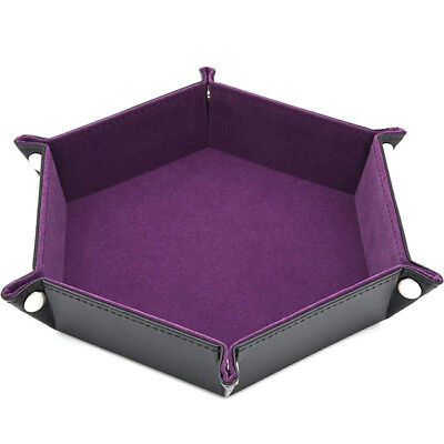 Purple Dice Rolling Tray PU Leather Collapsible Dice Tray Key Wallet Coin Tray Z