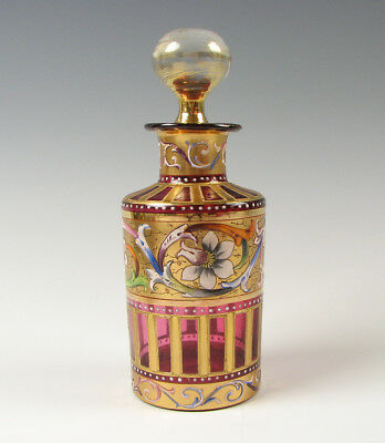 Antique Cranberry Moser Art Glass Perfume Bottle with Enamel and Gold Decoration