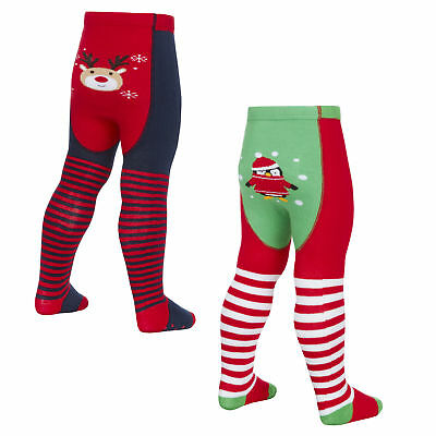 Tick Tock Baby Girls Cotton Rich Festive Design Tights