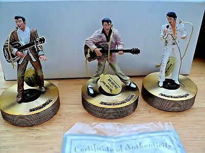 Bradford Exchange Elvis Solid Gold ~ 3 Musical Ornaments Collection ~ Set #2