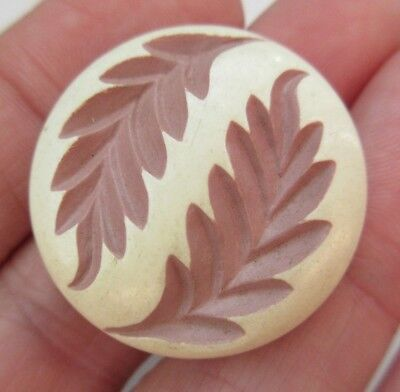 """Fabulous Antique~ Vtg Buffed Celluloid BUTTON White w/ Pink Leaves 1- 1/8"""" (Y32)"""