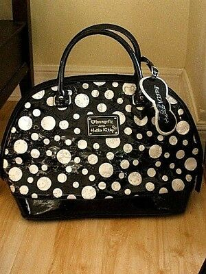 c7c094deb48b LOUNGEFLY Hello Kitty Purse Large Tote Patent Leather Polka Dot Black White
