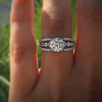 Bling Zircon Crystal Rhinestone Ring For Women Wedding Engagement Jewelry Z