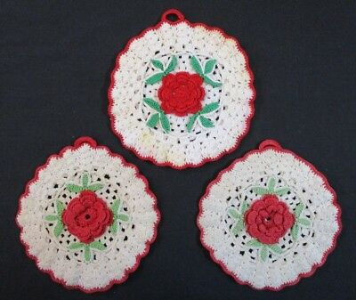 Set of 3 Hand Crochet Crocheted Potholders with 3-D Roses in the Center VGVC