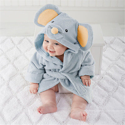 UK Soft Baby Hooded Bath Towel Robe Infant Shower Cute Bathrobe Wrap Gown Warmer