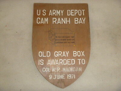 Nice Viet Nam Theater Made Wood Presentation Plaque To Col. 9 June 1971