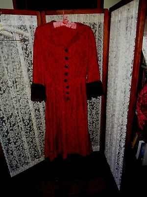 reporoduction Edwardian Victorian Burgundy black lace dress costume M L