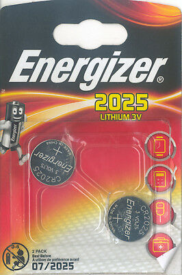 2 x Energizer Batterie CR2025 Lithium 3V Knopfbatterie CR 2025 Battery