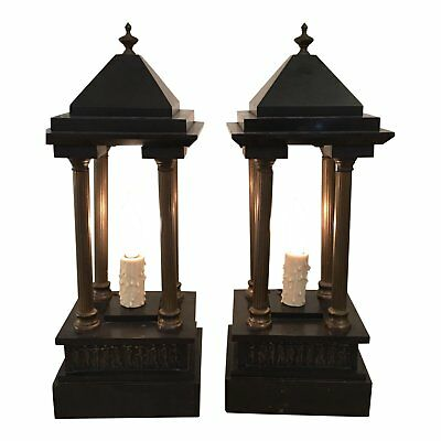 Antique Black Marble & Bronze Portico Mantel or Table Lamps - a Pair