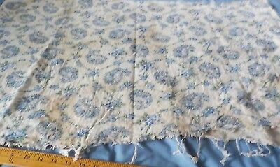 "vintage cotton fabric feedsack  white background w blue flowers 36"" x 44"""