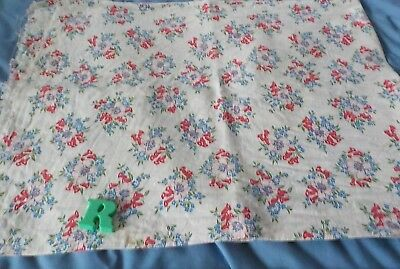 "vintage cotton fabric feedsack red and blue flowers 34""x 36"""