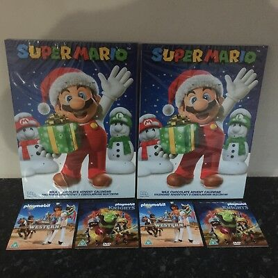 2 Official Nintendo Super Mario Advent Calendars & 4  DVDs Stocking Fillers New