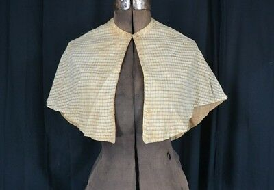 cape collar pelerine plaid cotton early 19th c original museum antique