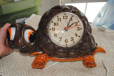 Vtg 1977 New Haven Turtle Electric Wall Clock Burwood Works