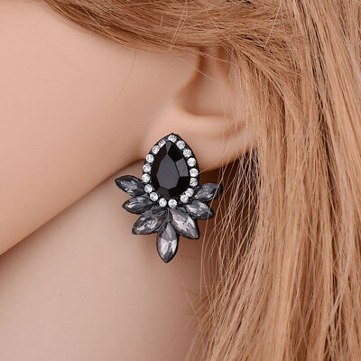 Exaggeration Vintage Big Crystal Flower Earrings Women Party Ear Jewelry Gift CB