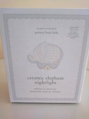 Pottery Barn Elephant ceramic plug in night light kid baby bed room