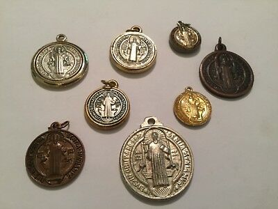Lot of 8 Unique Vintage St. Benedict Medals Protector From Evil