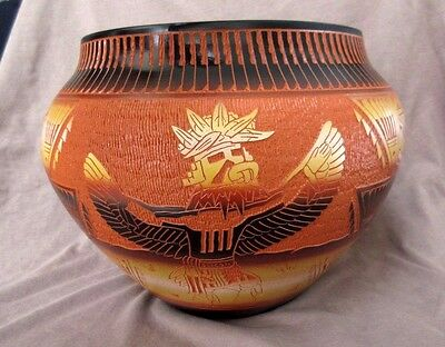 Native American HUGE Hand Etched Laguna Pottery Pot by Diane Aragon P98