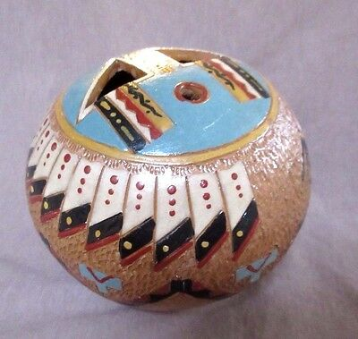 Navajo LARGE Handmade Pine Pitch Seed Pot w/ Feathers by Nancy Chilly P0093