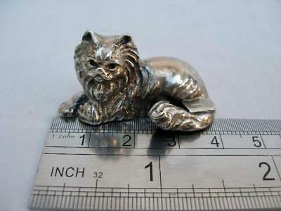 Fine Continental Solid Sterling Silver Miniature Model of A Cat.