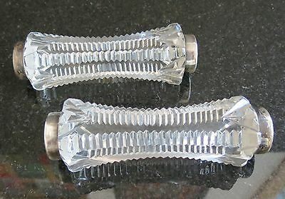 English stelring silver antique  cut  crystal antique knife rests F.H.A.L.