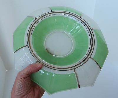 Green White Silver Art Deco low glass vase tray flower candy dish display
