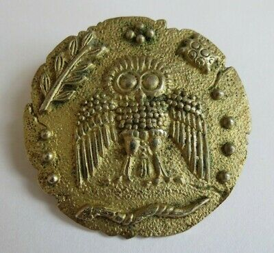 800 Silver antique gold finish Egyptian revival Owl snake rustic pendant pin