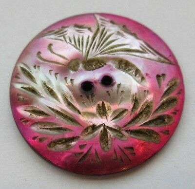 """Magnificent Antique Pink Dyed Carved MOP Shell BUTTON Butterfly Insect 1"""" (A11)"""